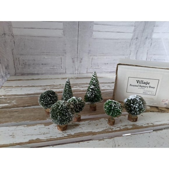 Dept 56 52035 frosted topiary trees village mini y